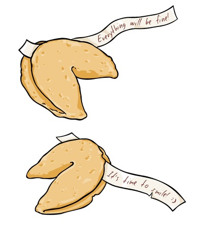 fortune cookie: Cartoon Two Fortune Cookies on White Background Illustration