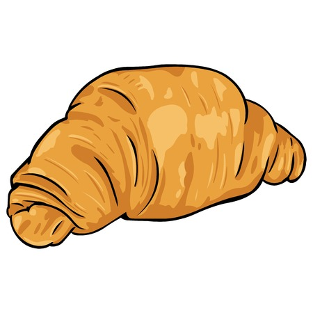 vector cartoon croissant from flaky pastry on White Background  イラスト・ベクター素材