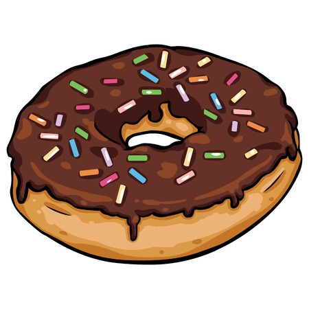 sinker: vector cartoon donut with chocolate icing on White Background