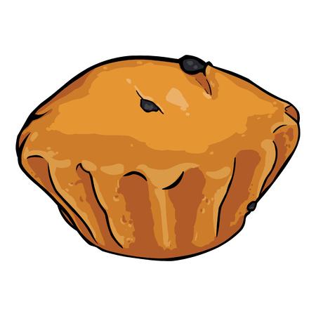 vector single cartoon plum-cake on White Background