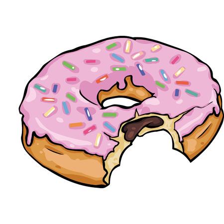 sinker: Vector Single Cartoon Doughnut on White Background
