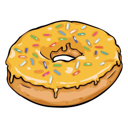 Vector Single Cartoon Doughnut on White Background