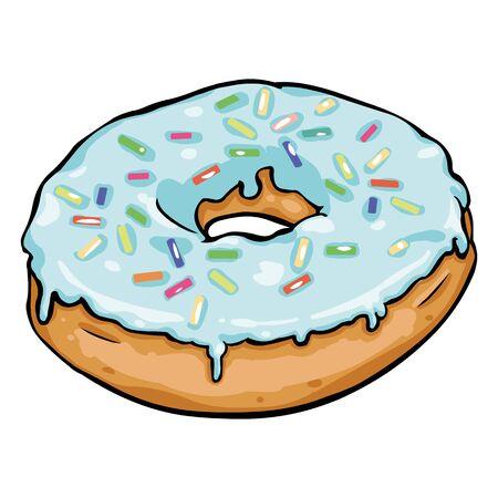 sweetstuff: Vector Single Cartoon Doughnut on White Background