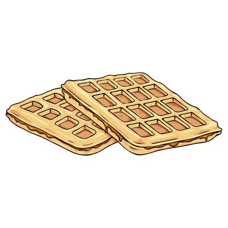 viennese: Vector Cartoon Viennese Waffles. Belgian Waffles with Caramel.