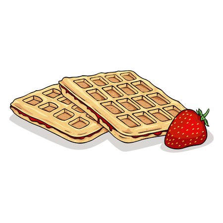 viennese: Vector Cartoon Viennese Waffles. Belgian Waffles with Strawberry. Illustration