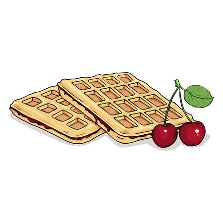 Vector Cartoon Viennese Waffles. Belgian Waffles with Cherry.