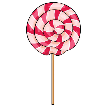 white sugar: vector cartoon lollipop swirl on White Background Illustration
