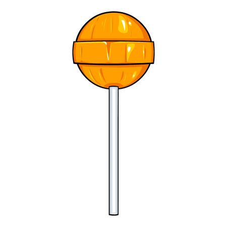 sweetmeat: Vector Single Cartoon Round Lolipop on White Background