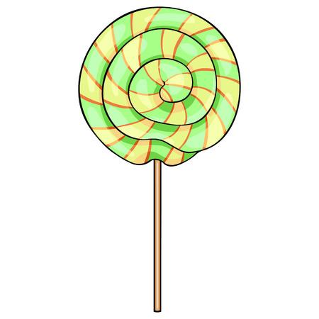 goody: Vector Single Cartoon Swirl Lolipop on White Background