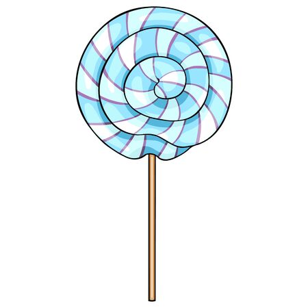 licking in isolated: Vector Single Cartoon Swirl Lolipop on White Background