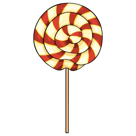 honeyed: Vector Single Cartoon Swirl Lolipop on White Background