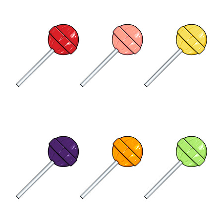 Vector Set of Cartoon Color Round Lolipops on White Background