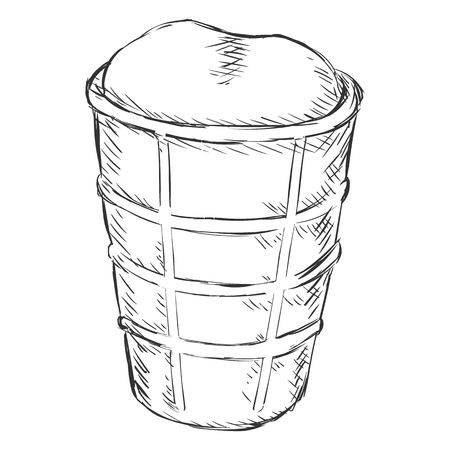 single sketch: Vector Single Sketch Ice Cream Cone on White Background