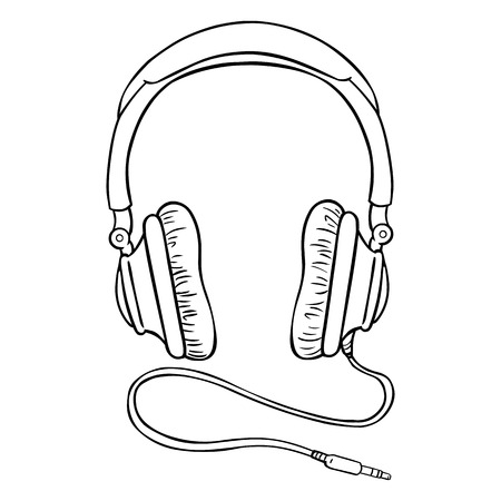 Vector Single Lineart Circumaural Headphones with Wire on White Background Vettoriali