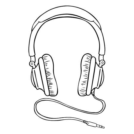 Vector Single Lineart Circumaural Headphones with Wire on White Background Illusztráció