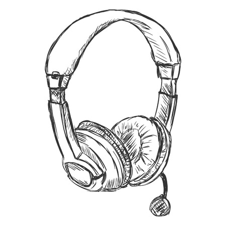 arts culture and entertainment: Vector Sketch Headset. Circumaural Headphones with Microphone on White Background
