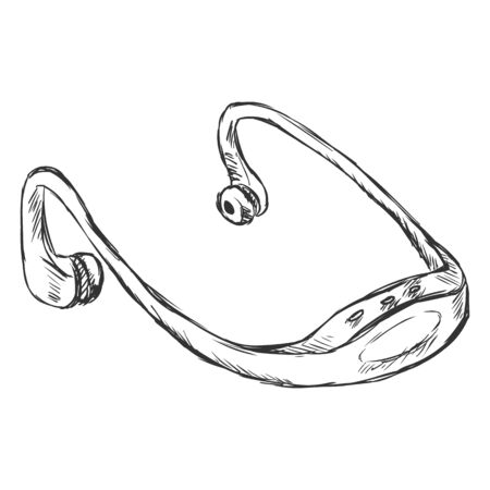 Vector Sketch Single Headphones Mp3-player on White Background