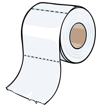 vector cartoon toilet paper on White Background Illustration