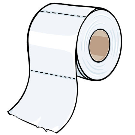 vector cartoon toilet paper on White Background Illusztráció