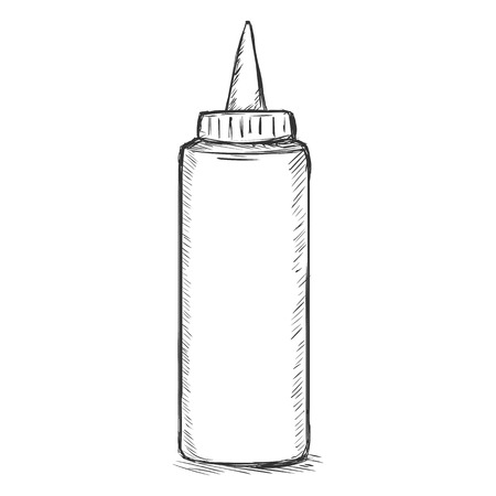 single sketch: Vector Single Sketch Fast Food Plastic Bottle on White Background