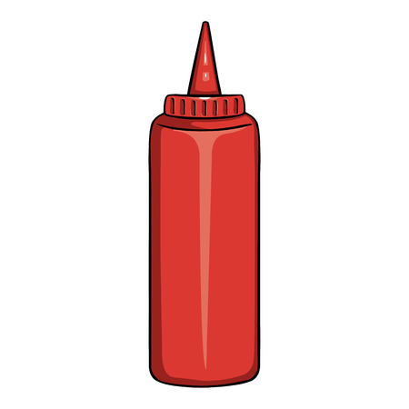 Vector Cartoon Red Plastic Bottle with Tomato Ketchup