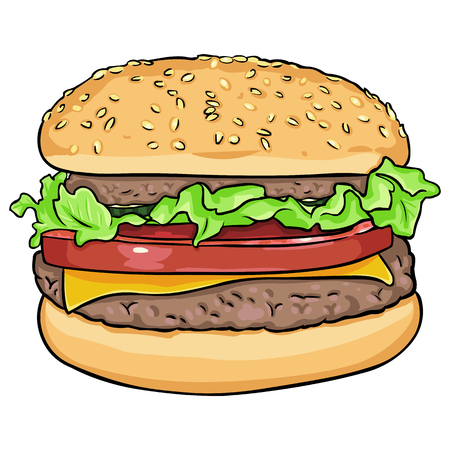 salat: vector single cartoon hamburger on White Background