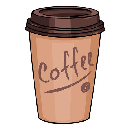 白背景にコーヒーのふた付けプラスチック カップ