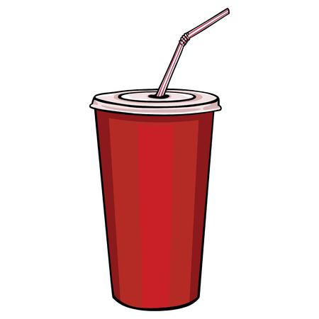 蓋と藁の上に白背景ベクトル赤いプラスチック カップ