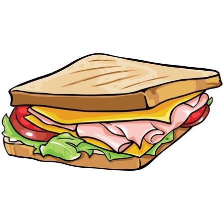 ham sandwich: vector cartoon sandwich with ham and vegetables on White Background