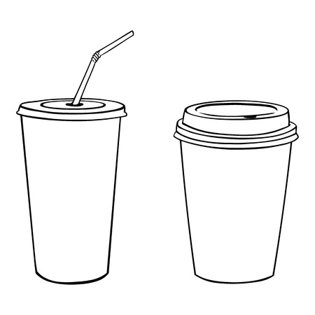 白背景にプラスチック カップのベクトル シルエット  イラスト・ベクター素材