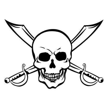 lineart: Vector Single Lineart Skull on White Background