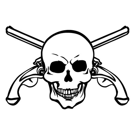 filibuster: Vector Single Lineart Skull on White Background