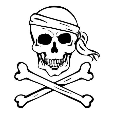 Vector Single Lineart Skull on White Background Vetores