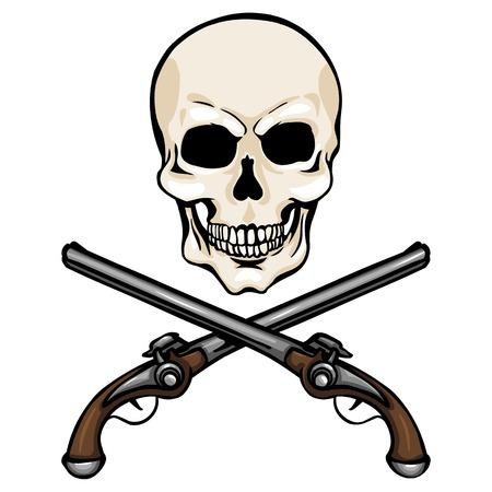 Vector Single Cartoon Skull with Cross Pistols on White Background