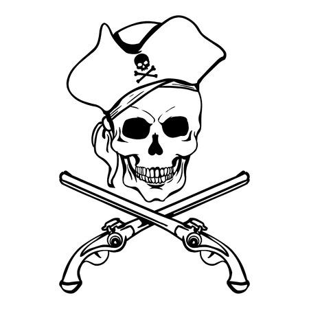 musket: Vector Single Lineart Skull on White Background