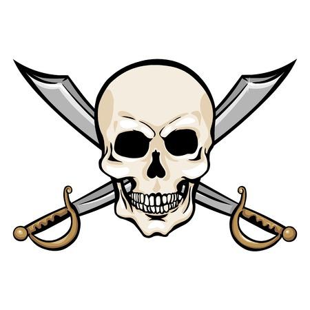 cruel: Vector Single Cartoon Pirate Skull with Cross Swords