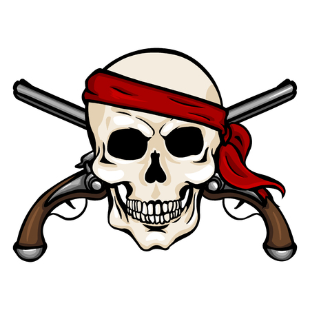 Vector Single Cartoon Pirate Skull in Red Headband with Cross Pistols