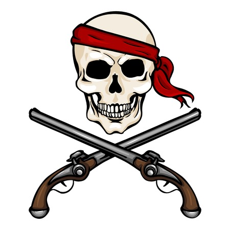 pistols: Vector Single Cartoon Pirate Skull in Red Headband with Cross Pistols