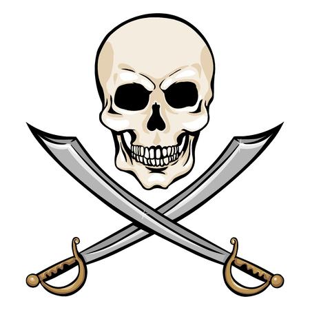 freebooter: Vector Single Cartoon Pirate Skull with Cross Swords