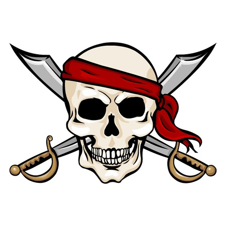 sabre: Vector Cartoon Pirate Skull in Red Headband with Cross Swords on White Background