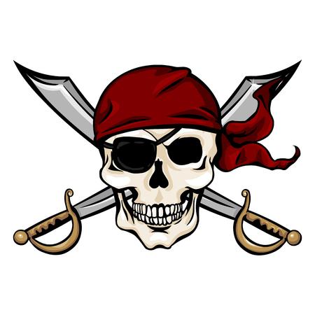 白い背景の上の剣十字と赤いバンダナのベクトル 1 つ漫画海賊スカル  イラスト・ベクター素材
