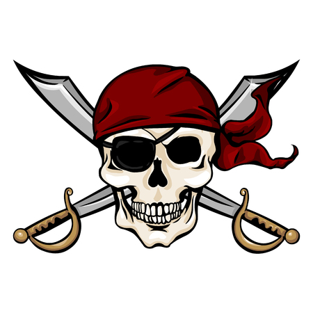 Vector Single Cartoon Pirate Skull in Red Bandana with Cross Swords on White Background