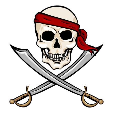 Vector Cartoon Pirate Skull in Red Headband with Cross Swords on White Background