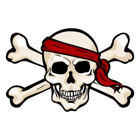 cross bones: Vector Single Cartoon Pirate Skull in Red Headband with Cross Bones
