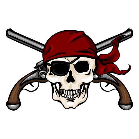 Vector Single Cartoon Schedel in Red Bandana met Kruis Pistols