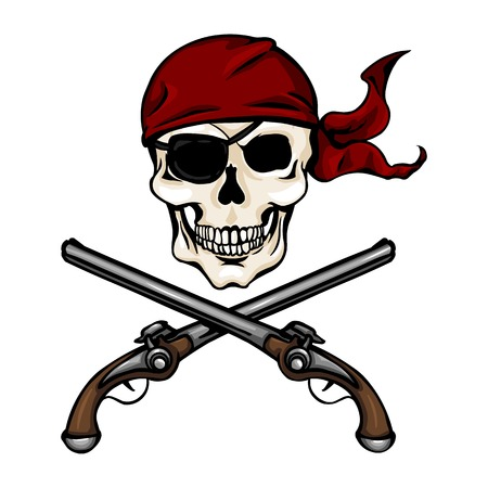 pistols: Vector Single Cartoon Pirate Skull in Red Bandana with Cross Pistols Illustration