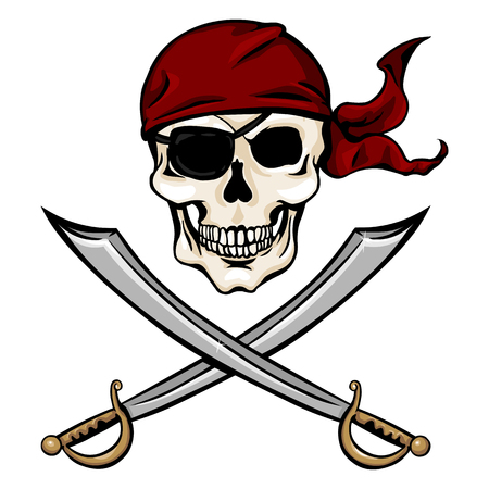 red bandana: Vector Single Cartoon Pirate Skull in Red Bandana with Cross Swords on White Background