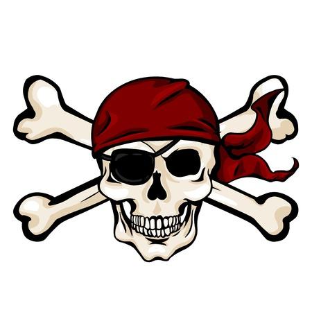 cross bones: Vector Single Cartoon Pirate Skull in Red Bandana with Cross Bones Illustration