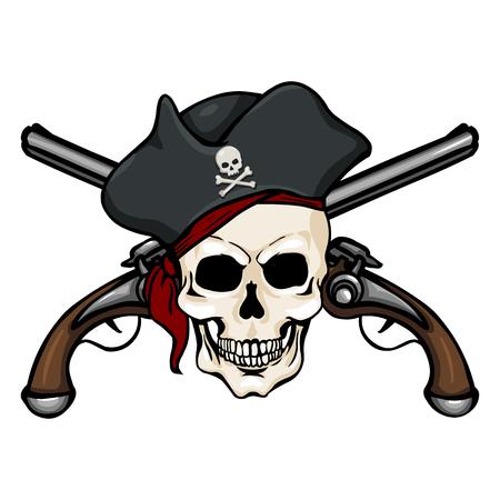 filibuster: Vector Single Cartoon Pirate Skull in Tricorn with Cross Pistols