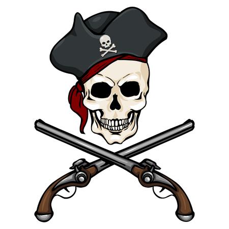 Vector Single Cartoon Pirate Skull in Tricorn with Cross Pistols
